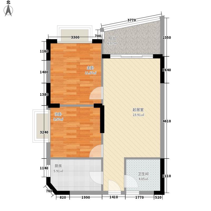 三亚椰岛阳光花园8.80㎡A户型2室2厅1卫1厨