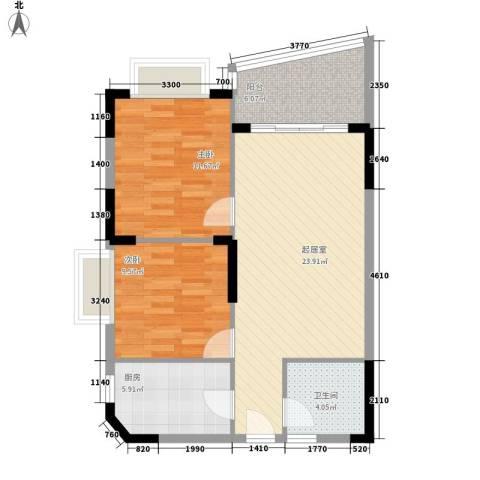 三亚椰岛阳光花园2室0厅1卫1厨61.18㎡户型图