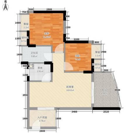 瑞海水城2室0厅1卫1厨71.00㎡户型图