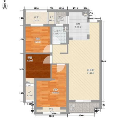 朗诗未来树3室0厅1卫0厨90.00㎡户型图