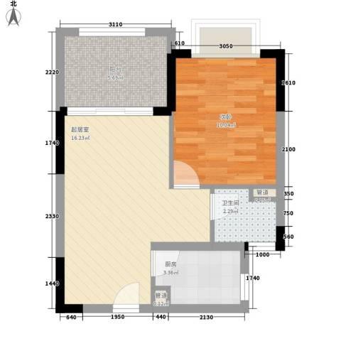 珍珠湾・风情小镇1室0厅1卫1厨55.00㎡户型图
