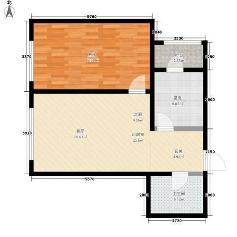 星宇名家1室0厅1卫1厨63.00㎡户型图