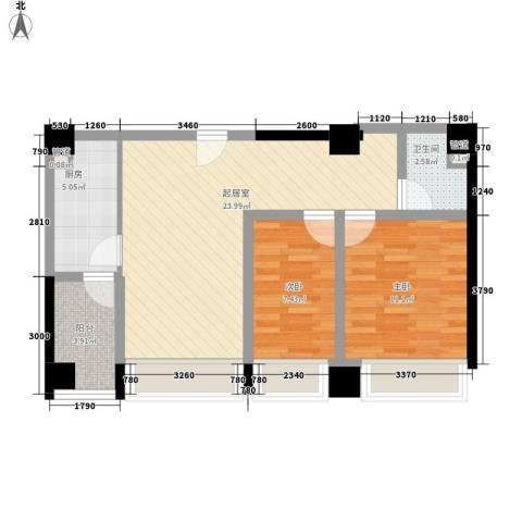 CROSS万象汇2室0厅1卫1厨95.00㎡户型图