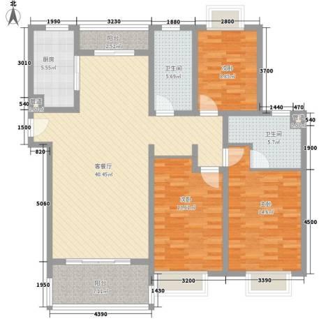 申润・江涛苑3室1厅2卫1厨146.00㎡户型图