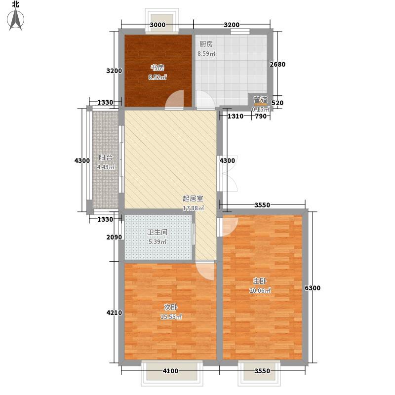 中润国际大厦124.34㎡中润国际大厦户型图3室2厅1卫户型10室