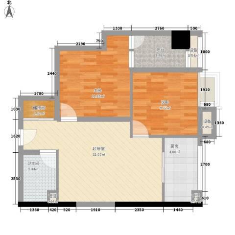 CROSS万象汇2室0厅1卫1厨81.00㎡户型图