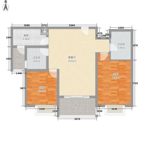 申润・江涛苑2室1厅2卫1厨123.00㎡户型图