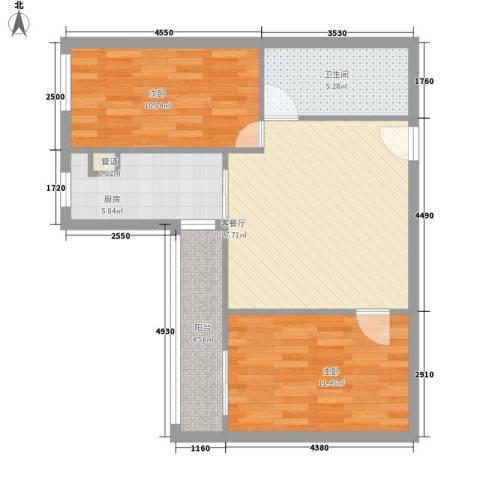 通惠家园惠民园2室1厅1卫1厨76.00㎡户型图