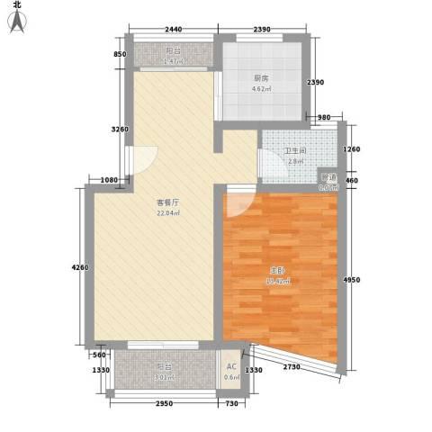 申润・江涛苑1室1厅1卫1厨72.00㎡户型图