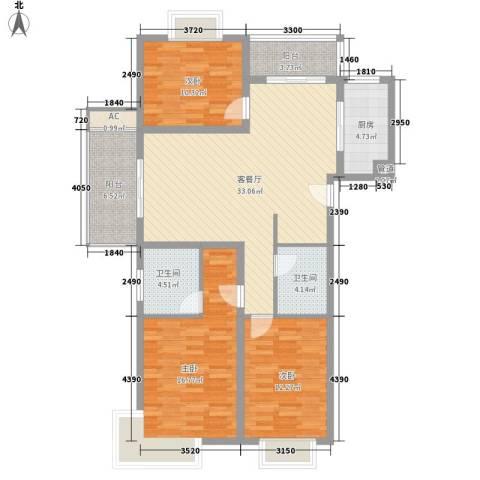 申润・江涛苑3室1厅2卫1厨138.00㎡户型图