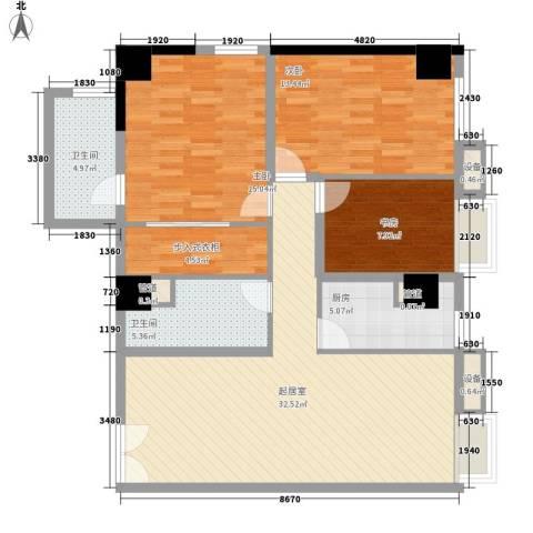 CROSS万象汇3室0厅2卫1厨136.00㎡户型图