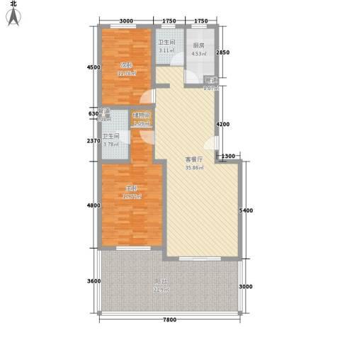 湖光科技新村2室1厅2卫1厨143.00㎡户型图
