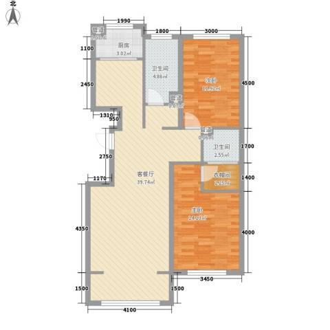 欧风花园2室1厅2卫1厨91.00㎡户型图