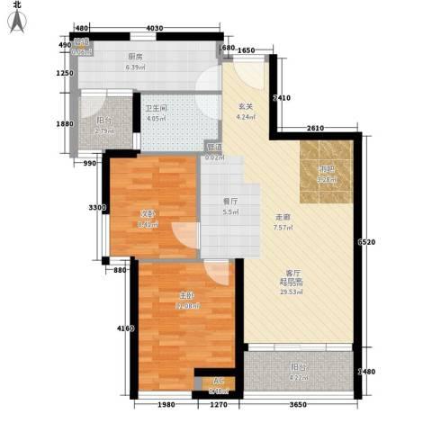 香格里拉花园2室0厅1卫1厨77.00㎡户型图
