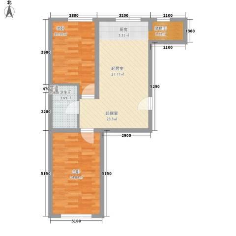 紫荆花园2室0厅1卫0厨73.00㎡户型图