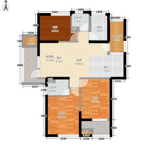 香格里拉花园3室0厅2卫1厨95.00㎡户型图