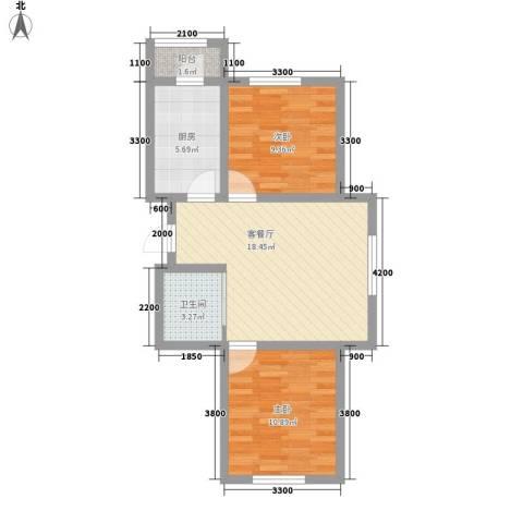 江山逸景2室1厅1卫1厨73.00㎡户型图