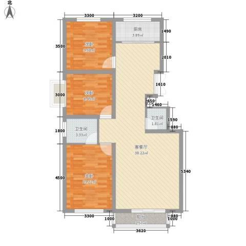 华宇小区3室1厅2卫1厨116.00㎡户型图