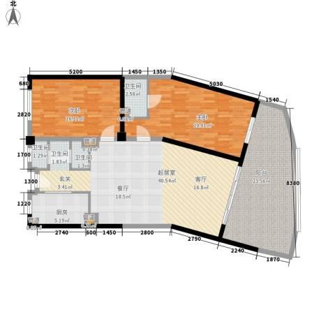 碧桂园十里银滩2室0厅3卫1厨117.00㎡户型图