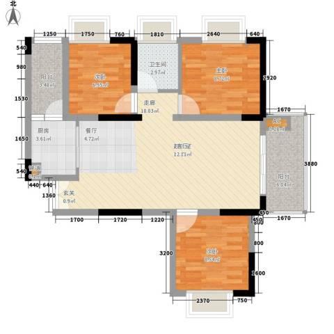 左岸美邻3室0厅1卫1厨93.00㎡户型图