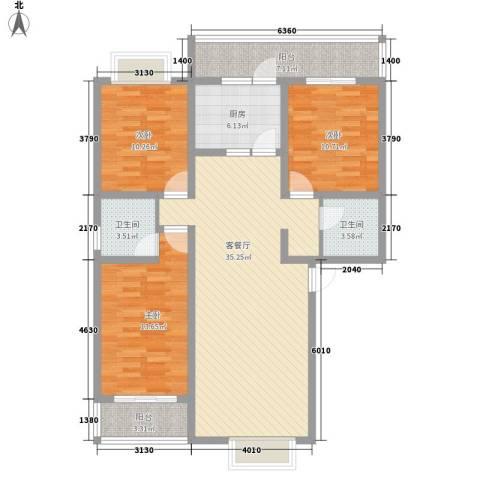 王府春天花园3室1厅2卫1厨136.00㎡户型图