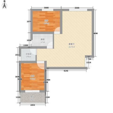 四分局家属楼2室1厅1卫1厨63.00㎡户型图