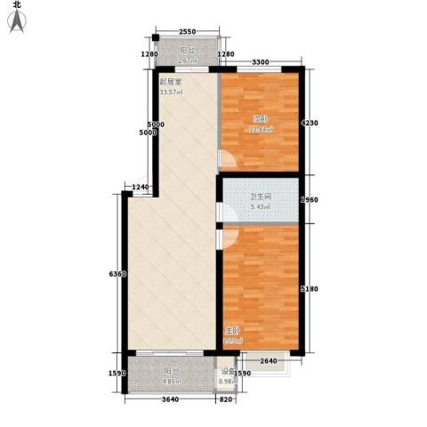 人和明苑秀景阁2室0厅1卫0厨75.26㎡户型图