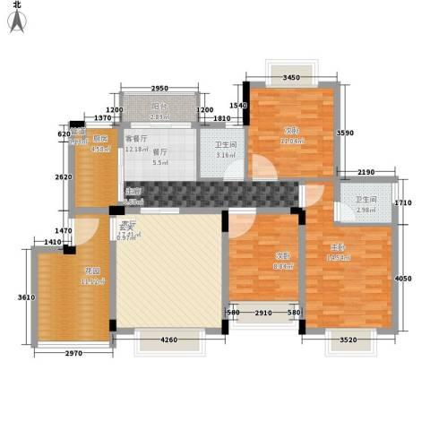 华美丽苑3室2厅2卫1厨129.00㎡户型图