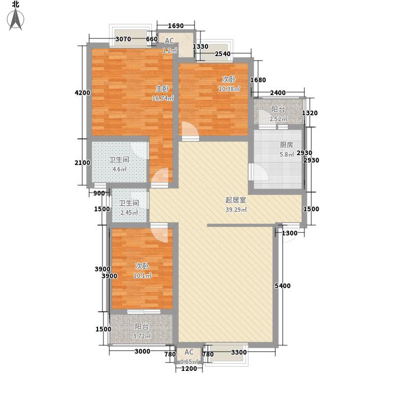 美联墅2号134.67㎡F型阳光雅筑户型3室2厅2卫1厨
