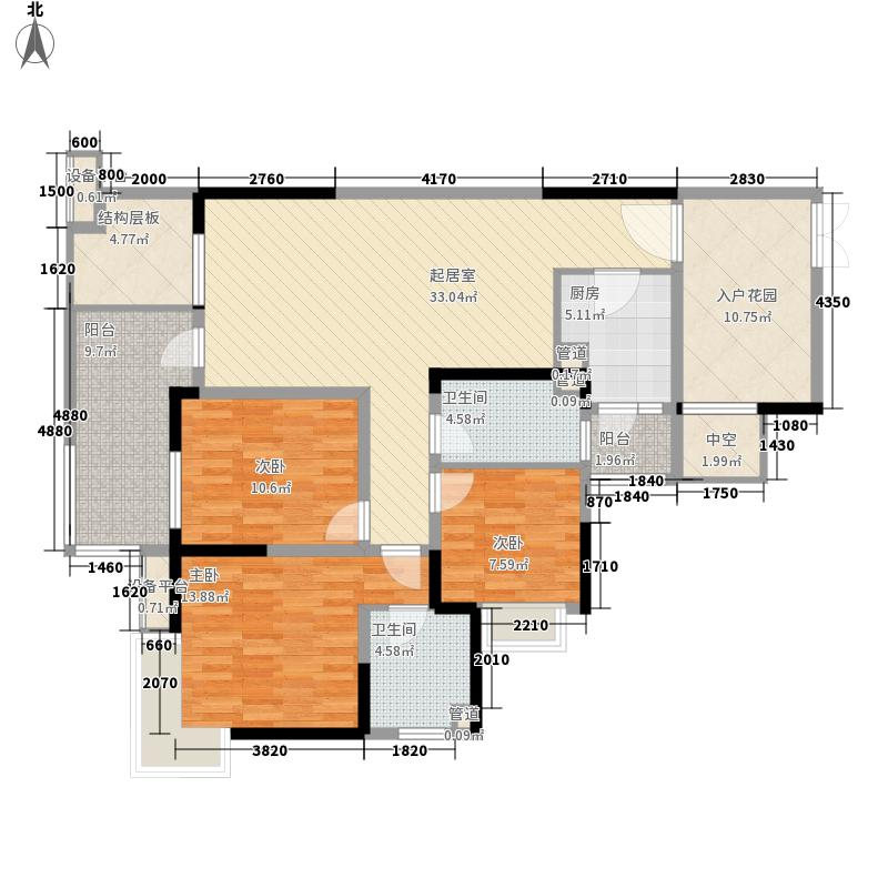 麓山国际社区云曦台114.00㎡一期二批次A6户型3室2厅2卫1厨