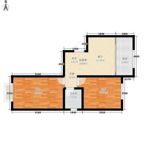 五五一四小区2室0厅1卫1厨75.00㎡户型图