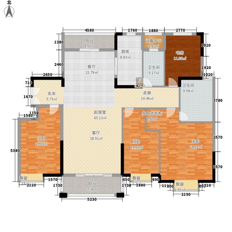 中集紫金文昌户型图1B户型 4室2厅2卫1厨