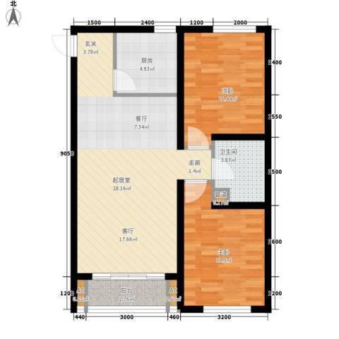 天格东湖湾2室0厅1卫1厨91.00㎡户型图