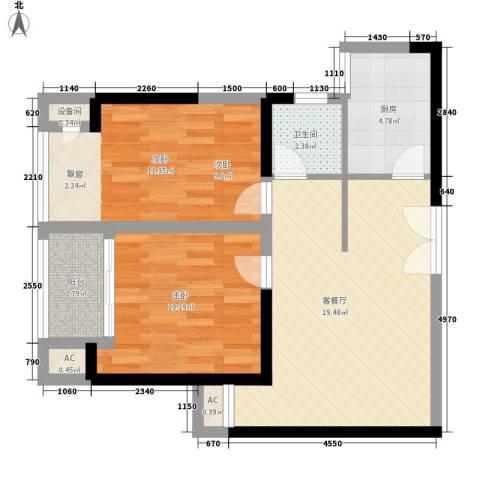 天凤国际大厦2室1厅1卫1厨77.00㎡户型图