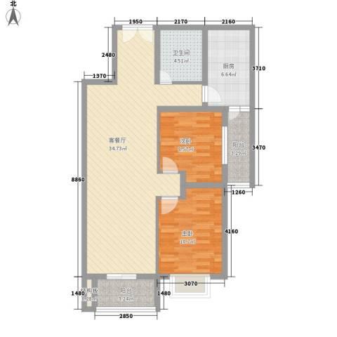 乐府国际公寓2室1厅1卫1厨104.00㎡户型图