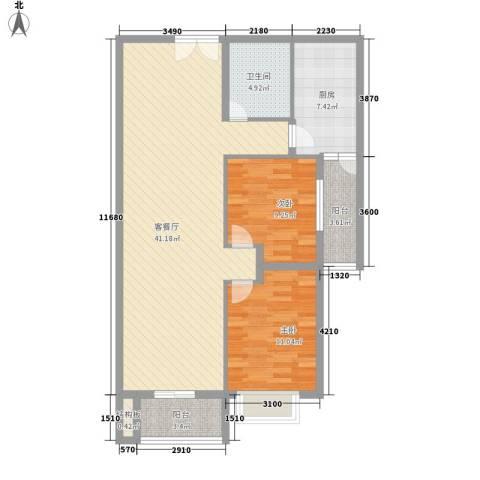 乐府国际公寓2室1厅1卫1厨115.00㎡户型图