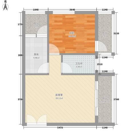 乐府国际公寓1室0厅1卫1厨68.00㎡户型图