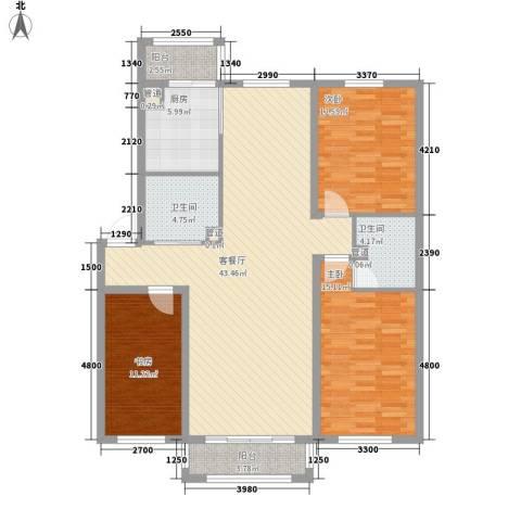富锦路综合楼3室1厅2卫1厨148.00㎡户型图