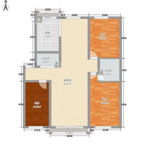公安厅宿舍3室0厅2卫1厨112.45㎡户型图