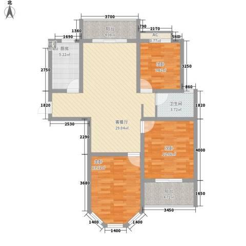 银河湾星苑3室1厅1卫1厨117.00㎡户型图