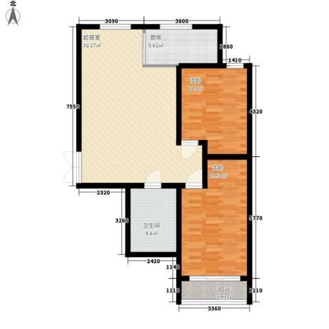 鼎盛国际2室0厅1卫1厨94.00㎡户型图