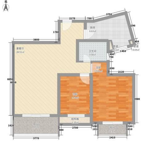 银河湾星苑2室1厅1卫1厨100.00㎡户型图