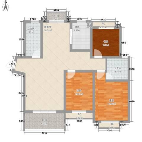 银河湾星苑3室1厅2卫1厨135.00㎡户型图