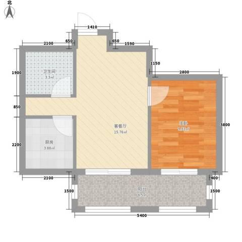 江山逸景1室1厅1卫1厨49.00㎡户型图