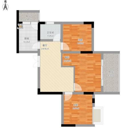 黄龙花园3室1厅1卫1厨89.00㎡户型图