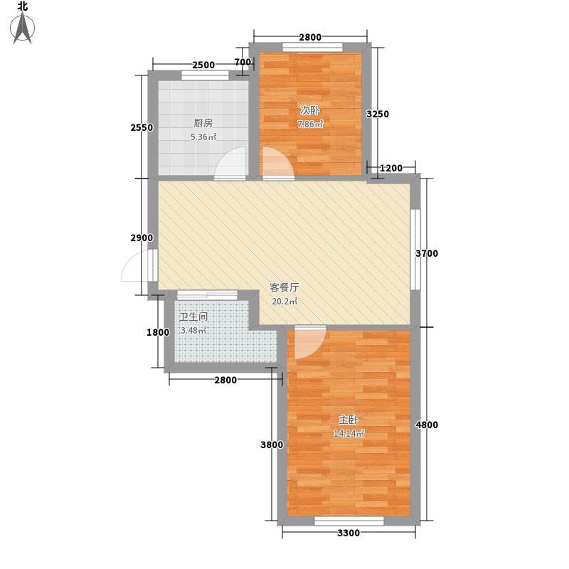 江山逸景73.18㎡D户型2室2厅1卫1厨