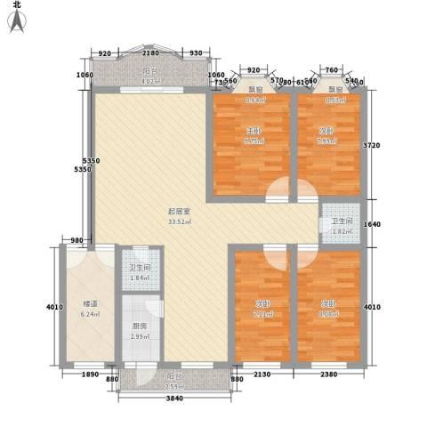 御花苑公寓4室0厅2卫1厨124.00㎡户型图