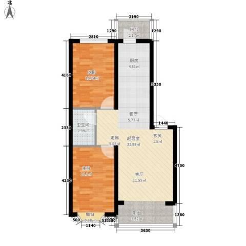 海富山水文园2室0厅1卫0厨68.00㎡户型图