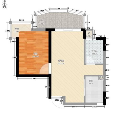 椰海花园1室0厅1卫1厨68.00㎡户型图