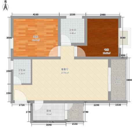 鑫龙花苑2室1厅2卫1厨101.00㎡户型图